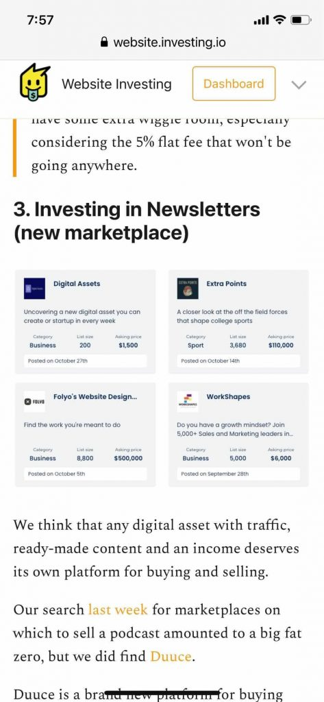 Website investing community newsletter